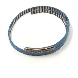 Henri Bendel Double Wrap Leather Buckle Bracelet